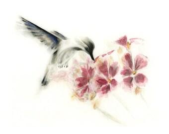 Greeting Card Fine Art Bird Card -- Hummingbird Over Flowers