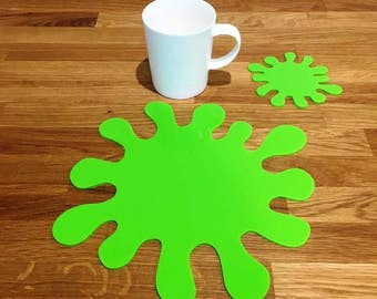 Splash Shaped Placemats or Placemats & Coasters - in Lime Green Gloss Finish Acrylic 3mm