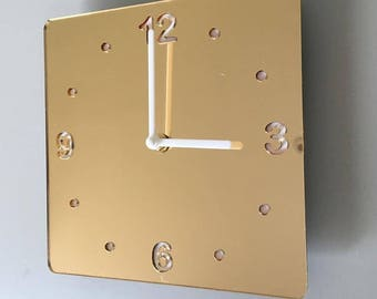 Rounded Corner Square Gold Mirror & White Clock - White Acrylic Back, Gold Mirror Finish Acrylic with White hands, Silent Sweep Movement