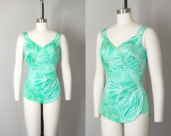 Vintage 1960s Swimsuit | 60s Green Floral Ruched Open Back One Piece Pin Up Bathing Suit (small)