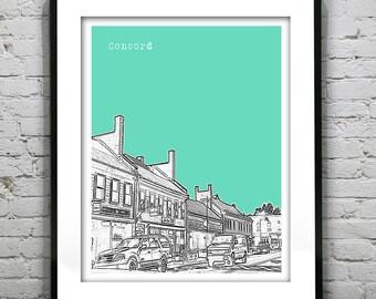 Concord Skyline Poster Art Print Massachusetts MA Version 2