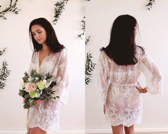 HELENA II - Kimono - Wedding day lingerie, Ivory Guipiere lace, Getting Ready, honeymoon, gift, bridal shower, trousseau, petite