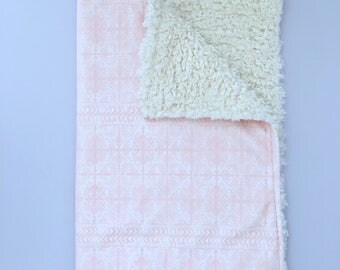 Baby, newborn, blanket, lovie, security blanket, mudcloth, mudcloth print, the lovie in coral mudcloth