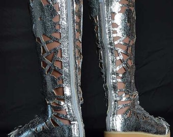 Trinidad Carnival Costume Boots GOLD OR SILVER