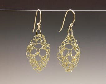Leaf Lace Earrings 18ky & 14ky Gold Small