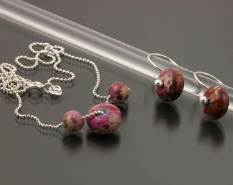 Sterling Silver and Dyed Impression Jasper Earring and Necklace Set   Gem Spotlight Collection