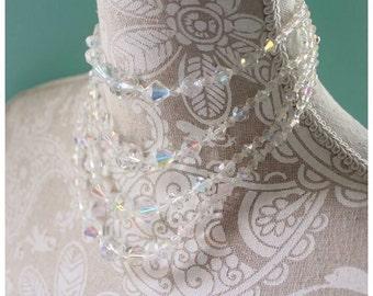 Vintage Aurora borealis 4 strand  swarovski Crystal necklace.