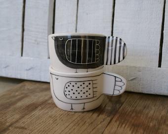 Pair ceramic coffee cups