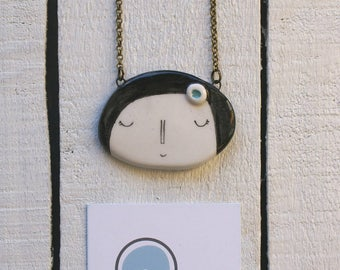 Handmade ceramic Lady necklace