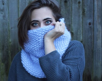 THE COLETTE \\ Big Chunky Hand Knit Cowl \\ Winter Accessory \\ Oversized Infinity Scarf \\ Thick Neckwarmer \\ Made To Order