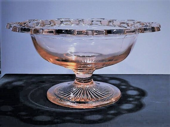 Pink Depression Glass /  Old Colony / Lace Edge / Compote / Comport