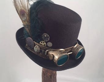 STEAMPUNK TOP HATS, Steampunk Shop,Tall Top Hat,  Black Top Hat with black, brown, Bronze Spiked Goggles, Green Lenses