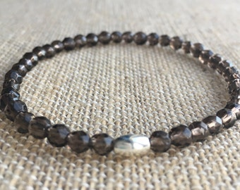 Dainty faceted Smokey Quartz stretch bracelet with sterling silver tube bead