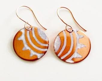 Radiant Sun Handpainted Earrings Tsalagi Cherokee Made