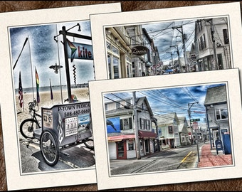 3 Provincetown Photo Note Card Set - Provincetown Note Card - 5x7 Cape Cod Note Cards Handmade - Provincetown Greeting Cards  (PR3)