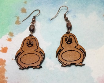 free standart shipping /natural leather color penguin  earrings -leather earings-nature lovers-gift for her