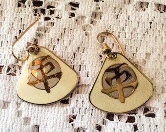 Laurel Burch Earrings, Chinese Symbol Peace, Cream with Amethyst, Vintage Jewelry