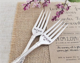 Mine and Yours. Hand Stamped Vintage Wedding Forks.