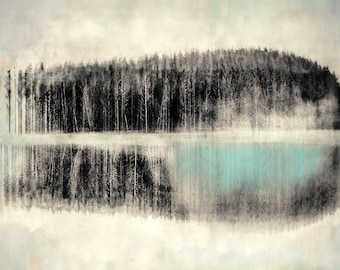Nordic frozen fjord landscape print, winter trees, black and white dreamy Scandinavia, turquoise fine art photographic print limited edition