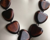 Wood Necklace  wooden heart wood necklace large wooden heart shaped beads Perfect condition