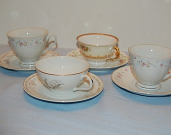 Vintage Mis Matched Cups and Saucers, Set of 4, Tea Cups, Saucers, Shabby Chic
