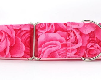 Fuchsia Packed Roses Pet Collar (Martingale, Buckle, or Tag)