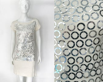 The Insurgent Ivory Infinity Vintage 90s Dress Silver Circle Sequins Silky Shift Slinky Rayon  XS S Women's Cocktail Dress, Embellished