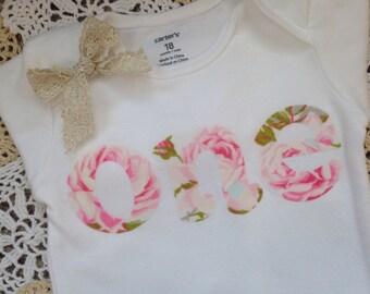 1st Birthday Girl Outfit | 'one' Bodysuit || PICK YOUR FABRIC || Shabby Chic First Birthday Girl Cake Smash Shirt | 1 Year Old Girl Birthday