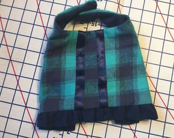 Doggie Jackets in Teal and Black plaid