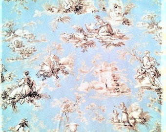 Upholstery Fabric Drapery Spa Green Tan French Toile Country