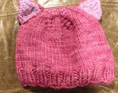 Pussyhat, Ready to ship, Cat Ears, Pink Pussy Cat Hat, Knit Pussy Hat, Adult hat, pink cat hat, kitty, animal hat, cat beanie, Knit Cat Hat,
