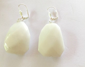 Six Corner White Glass Earrings
