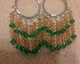 Green and Gold Beaded Earrings with Leverbacks