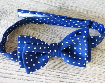 boys bow ties,navy blue and white polka dots bow tie for boys,baby bow ties