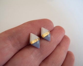 White and Blue Gray with 23k Gold  Rhombus Stud Earrings - Hypallergenic Titanium Posts