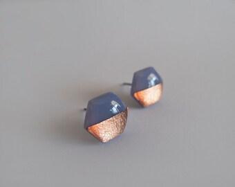 Blue Gray Copper Hexagon Stud Earrings - Hypoallergenic Titanium Posts