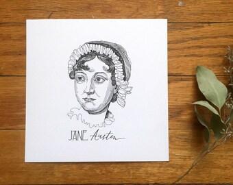 Jane Austen Pen & Ink Drawing and Handlettering | Illustration Mini Print