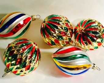 5 Vintage blown glass ornaments  Germany Gold Green Blue Red
