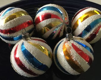 5 vintage multi color glass Christmas ornaments with white glitter