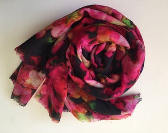 Floral Magenta Superfine Cashmere Ring Shawl/Mother's Day Gift