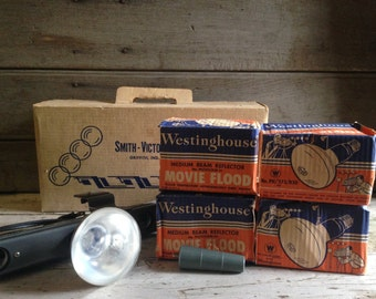 Vintage flood light bar / film lighting / Vintage Smith Victor Photo Film Flood Light Bar