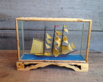 Vintage nautical collectible / vintage pirate ship / nautical home decor