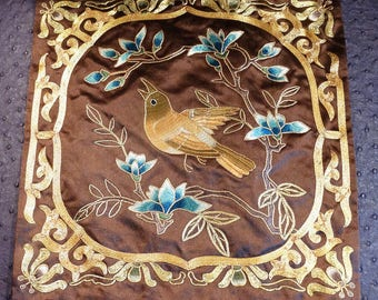 Vintage Chinese Embroidery Gold Couching Bird on Branch Silk Panel