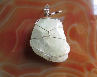 Prehnite with Star Charm Wire Wrapped Crystal Pendant