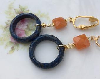 Blue Lapis and Orange Fire Agate Dangle Clip On Earrings / Natural Stone Clipon / Drop Clip Earring / Pierced Nonpierced