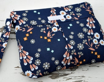 Clutch with Zipper Closure - Cotton Clutch - Diaper Clutch - Foxglove Floral with Aqua Cotton Lining