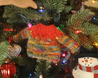Red and Gingerbread Varigated Hand-Knit Sweater Ornament