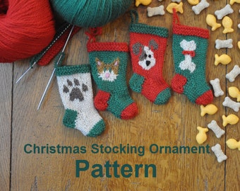 Dog & Cat Christmas Stocking Ornaments Knitting Pattern