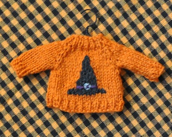 Witch Hat Hand-Knit Sweater Ornament  Halloween Ornament