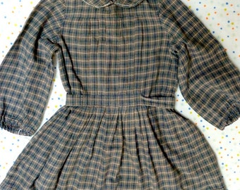 Vintage pleated dress made out of blue, grey & white checked cotton. Handmade in 1983. Excellent condition.
